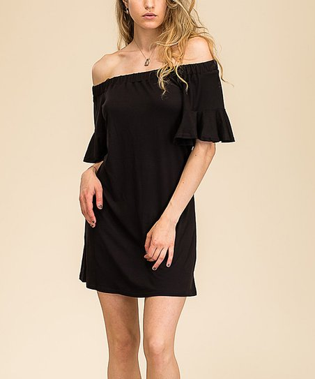 bf3154004be0 love this product Black Ruffle-Sleeve Off-Shoulder Dress - Women