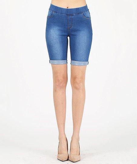 ee3edd5e67486 love this product Medium Blue Mid-Rise Bermuda Shorts - Juniors
