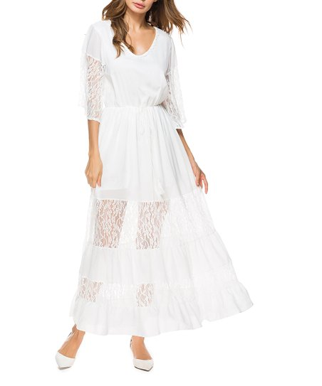 3ce3550c732 love this product White Sheer-Accent V-Neck Maxi Dress - Women