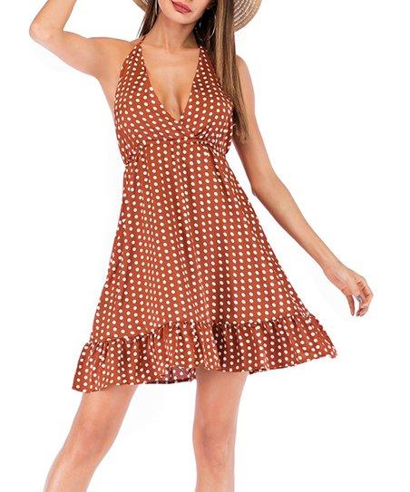 ba4e5f02619 Msquared Brown Polka Dot Ruffle-Hem V-Neck Halter Dress
