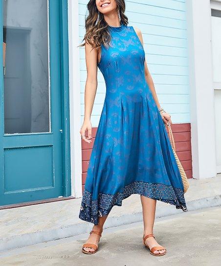 67ba0dcb76 Reborn Collection Blue Abstract High-Neck Maxi Dress - Women & Plus ...