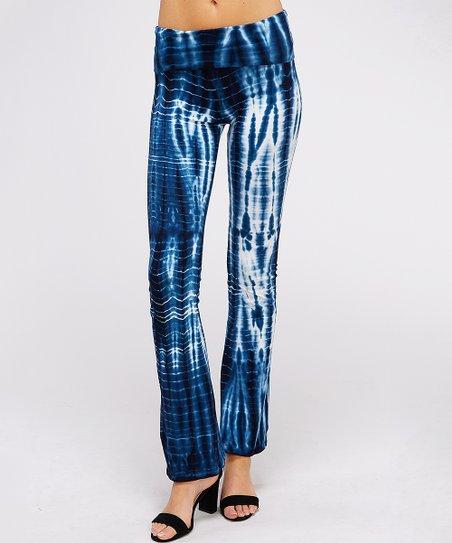 d85421d93d257 love this product Navy & White Tie-Dye Yoga Pants - Women