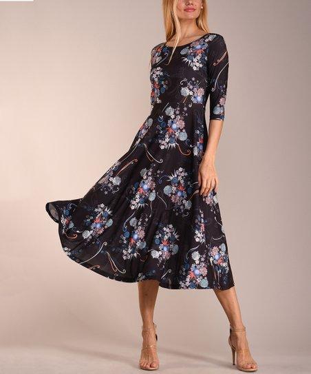 864b6fdf0543 love this product Black & Blue Floral Three-Quarter Sleeve Midi Dress -  Women & Plus