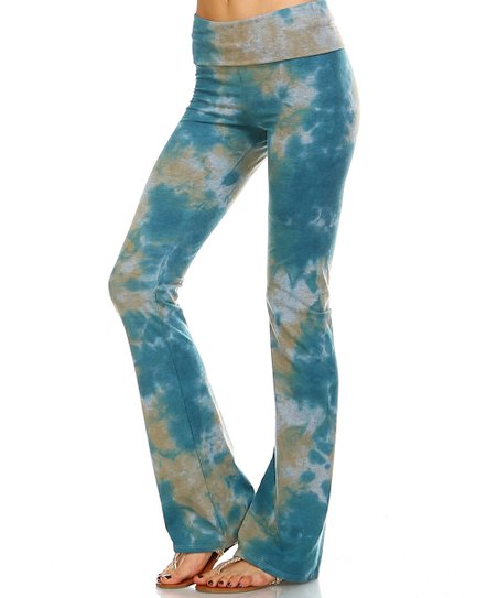 868d6d3f34e59 love this product Turquoise & Taupe Tie-Dye Yoga Pants - Women