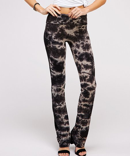 fba1fb64d7193 love this product Black & Gray Tie-Dye Yoga Pants - Women
