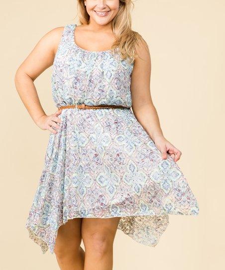 0c4b3acd02b As U Wish Ivory   Navy Floral Lace Handkerchief Dress - Plus
