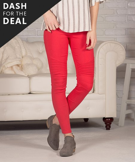 333b9a09ec39a Contagious Red Moto Jeggings - Women   Zulily