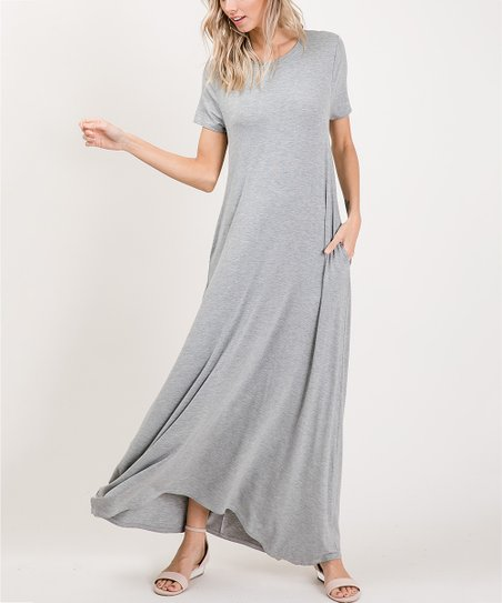1f0356b3f44 Annabelle USA Heather Gray Pocket Scoop Neck Maxi Dress - Plus