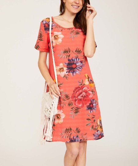5aa556e97a6 Ornella Paris Coral Floral Front-Pocket Shift Dress - Women   Plus ...
