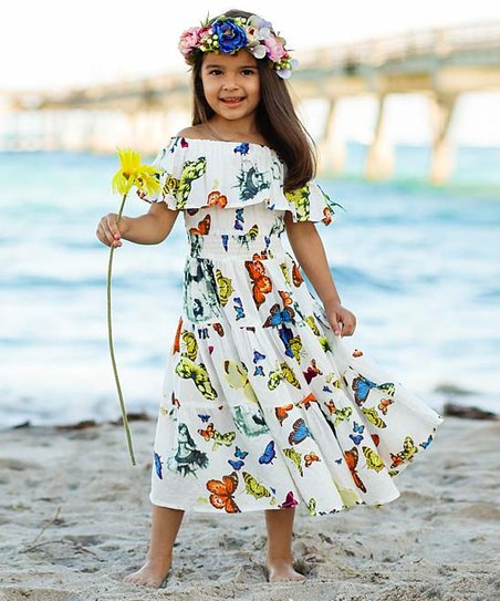 6f197f4a62d love this product White Butterfly Ruffle Off-Shoulder Maxi Dress - Girls