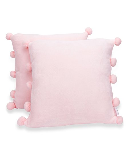 Awesome Cheer Collection Light Pink Pom Pom Flannel Throw Pillow Set Of Two Ocoug Best Dining Table And Chair Ideas Images Ocougorg
