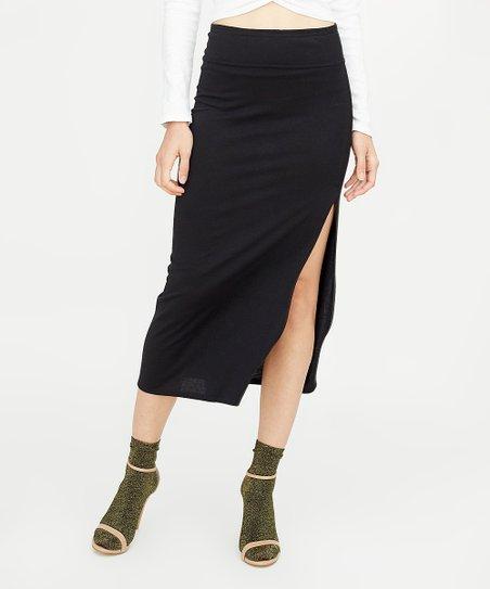 706c3744ca9a Avenue Zoe Black High-Waist Side-Slit Midi Skirt - Women | Zulily