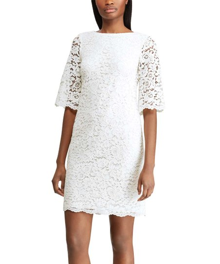 173eab0a3 Lauren Ralph Lauren White Scalloped-Lace Sheath Dress - Women