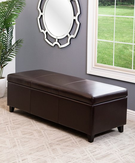 Dark Brown Frankfurt Leather Storage Ottoman