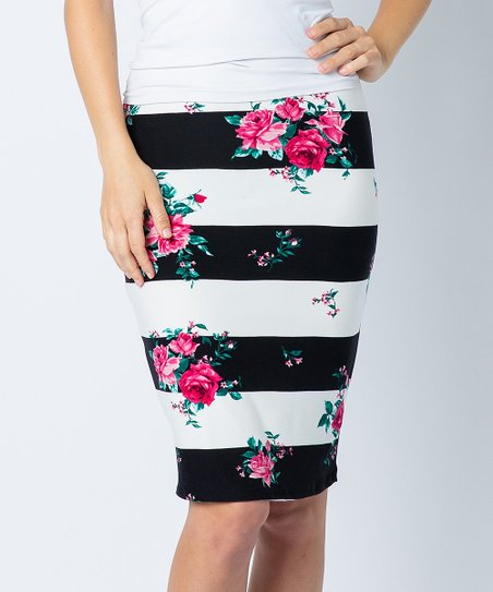 bf24f868f Acting Pro Black Floral Stripe Pencil Skirt - Women | Zulily