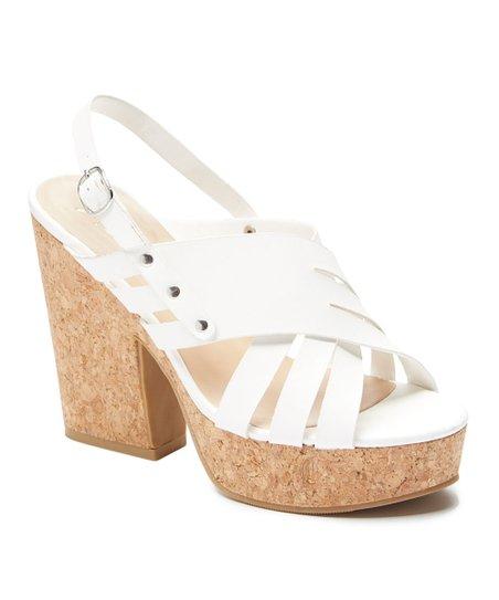 d993c80fcf753 love this product White Caged Wood Platform Sandal - Women