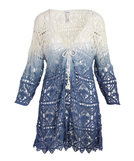 Pat Rego White Blue Ombré Crochet Cardigan Women Zulily