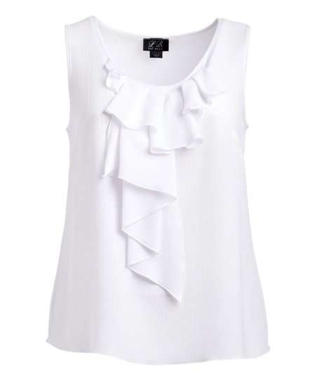 35629df29fc688 love this product White Ruffle-Front Sleeveless Top - Plus