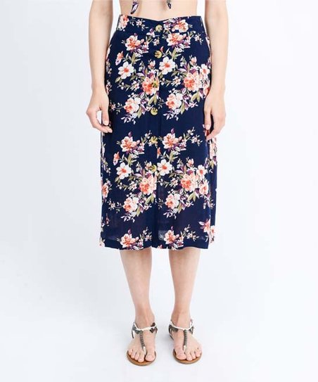 9a1c4d72a45a SBS Fashion Navy Floral Button-Front Midi Skirt - Women | Zulily