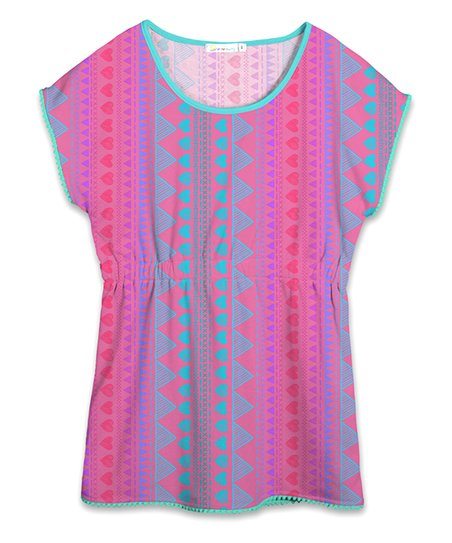 5b6d6eb28ee7 love this product Pink   Turquoise Geometric Cover-Up T-Shirt Dress -  Toddler   Girls