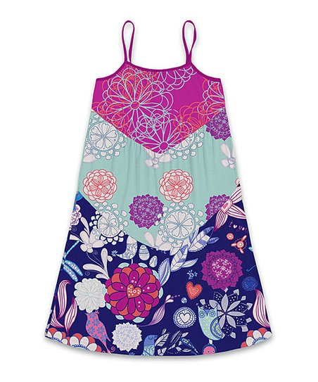 93ae792bc5 love this product Fuchsia & Turquoise Floral Tiered Sleeveless Dress -  Toddler & Girls