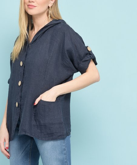 1733f177cab8 love this product Dark Blue Roll-Sleeve Hooded Linen Button-Up Top - Women  & Plus