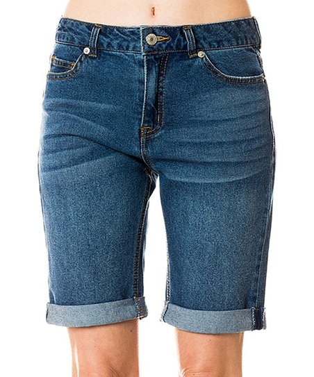011aa3b5 SBS Fashion Blue Cuffed Denim Bermuda Shorts - Women | Zulily
