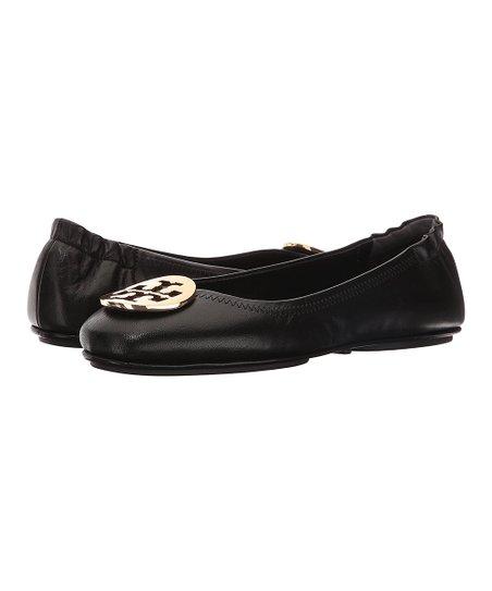 0e4b1c6be Tory Burch Black & Gold Minnie Leather Travel Ballet Flat - Women ...