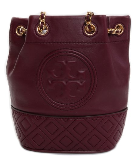 6442aac26da Tory Burch Maroon & Goldtone Fleming Leather Mini Bucket Bag | Zulily