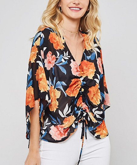 02e099a0fe5 love this product Black & Coral Floral Bell-Sleeve Gathered Front V-Neck  Top - Women