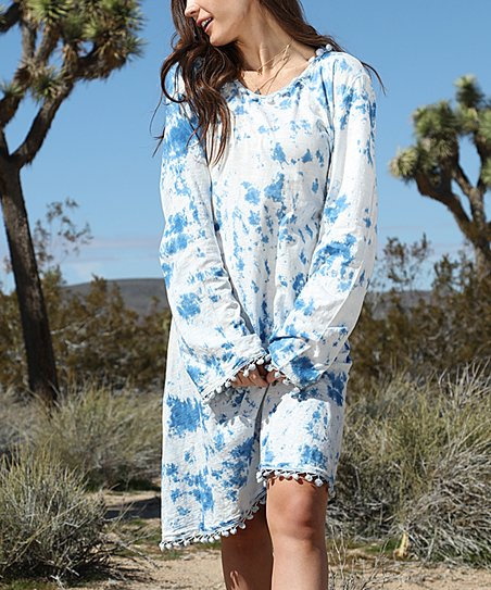 love this product Ocean Blue Tie-Dye Pom-Pom Trim Dress - Women   Plus 92fbff96a0