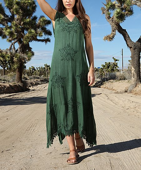 d0c2c93ecb Anandas Collection Dark Green Embroidered Lace Maxi Dress - Women ...
