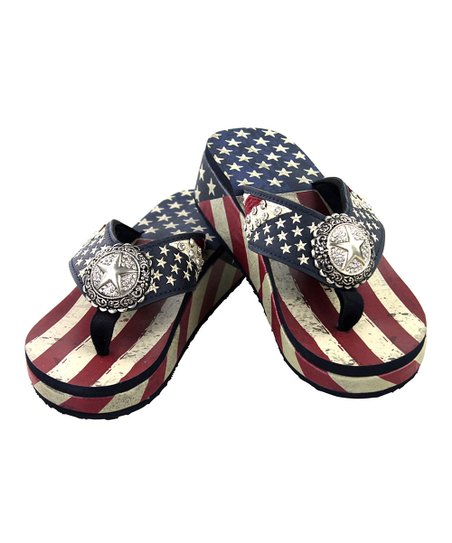 f1c1d515a55b8 love this product Navy   Red Stars   Stripes Platform Flip-Flop - Women