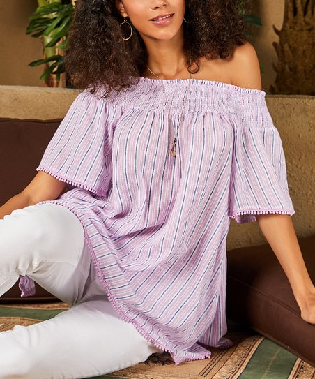 1ca2c4cd52b love this product White & Pink Stripe Smocked Off-Shoulder Top - Women &  Plus