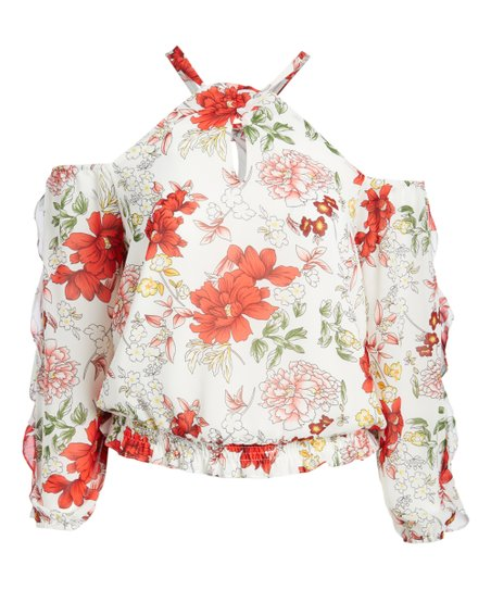 6a1a82fdb71 love this product White & Pink Floral Off-Shoulder Top - Plus