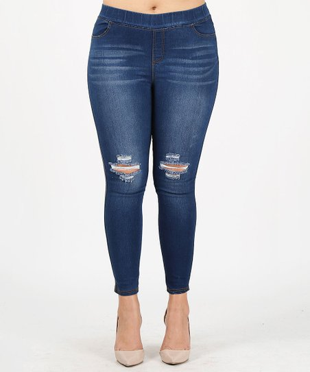 04d8d509326 love this product Medium Blue Wash Distressed Skinny Pull-On Jeggings - Plus