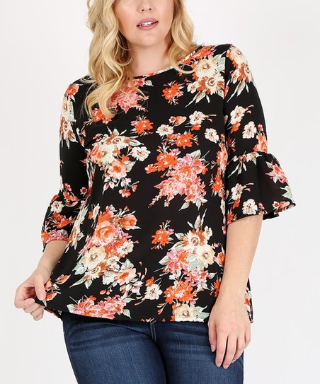 e1dc358eb188b Sweet Lindsey Black Floral Bell-Sleeve Top - Plus