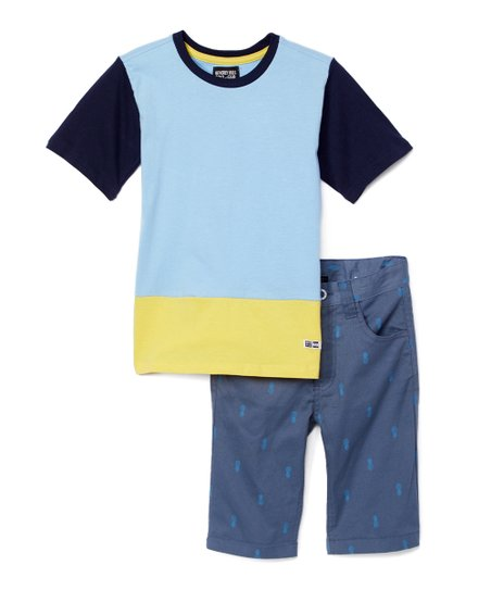 63bbe458f207 love this product Light Blue Raglan Tee & Blue Pineapple Casual Shorts -  Infant, Toddler & Boys