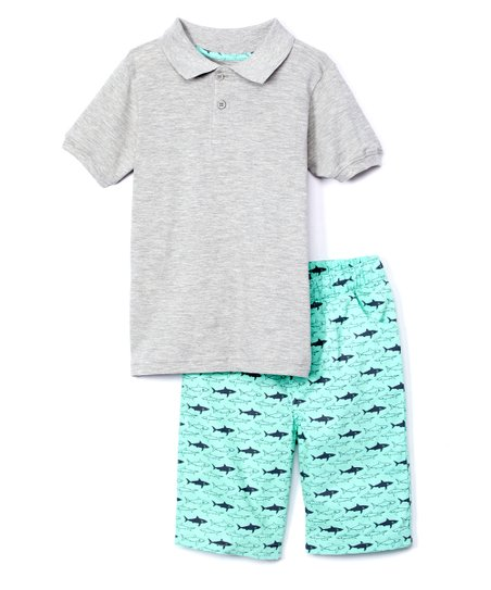 efe8cb5a love this product Gray Heather Piqué Polo & Light Blue Shark Shorts - Infant,  Toddler & Boys