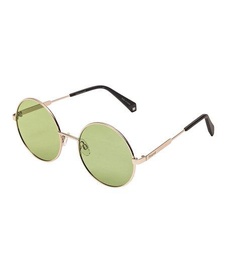 0e7e38688 Polaroid Gold & Green Polarized Round Sunglasses | Zulily