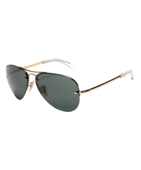 5fa1f51475 Ray-Ban Gold   Green Semi Rimless Aviator Sunglasses - Unisex