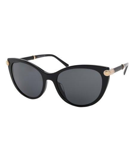 96b047133ffcbd Versace Collection Black & Gray Gold-Accent Cat-Eye Sunglasses | Zulily