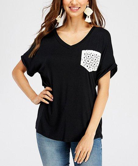 a3177d4e8b love this product Black Lace-Pocket V-Neck Top - Women
