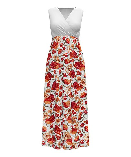 facb1d40cf love this product Red & White Floral Sleeveless Surplice Maxi Dress - Women  & Plus