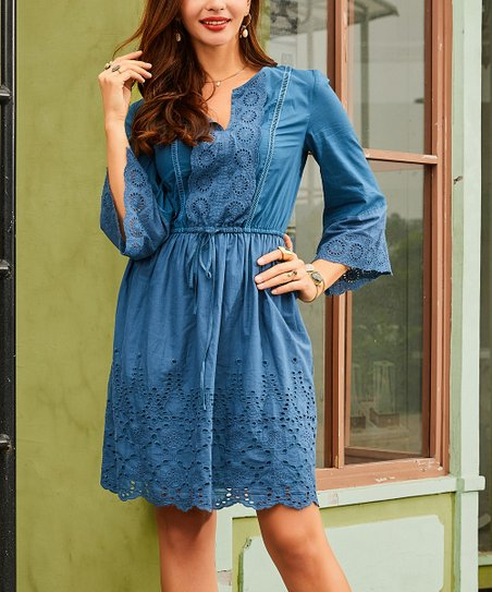 0a62ff10b5b love this product Navy Eyelet Notch Neck Fit   Flare Dress - Women   Plus