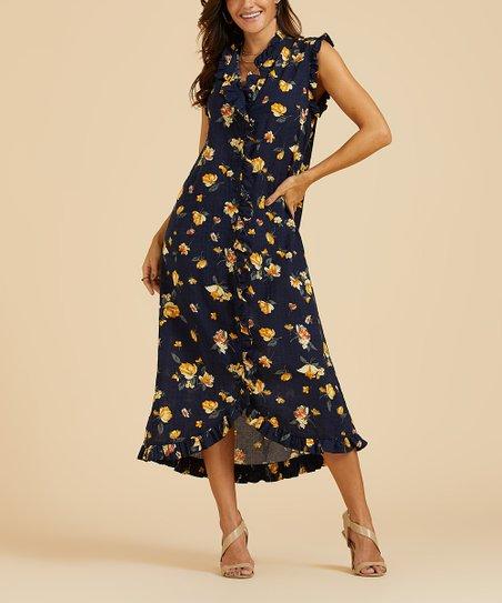 c36ee9f701 Suzanne Betro Dresses Navy Floral Ruffle-Trim Midi Dress - Women ...