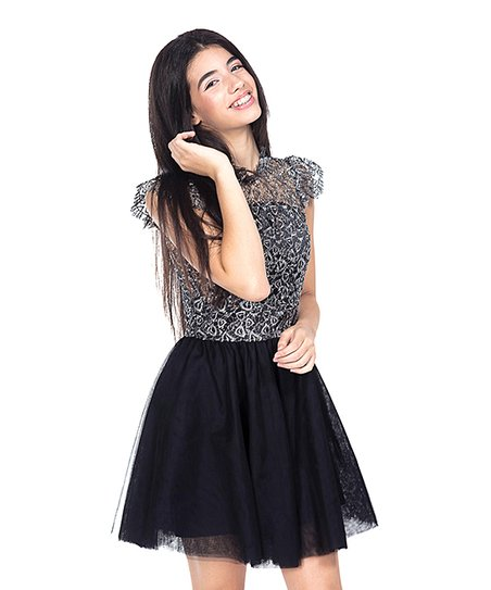 8c7c3bfcacd Miss Behave Girls Black Rocky Lace-Overlay Fit   Flare Dress - Girls ...