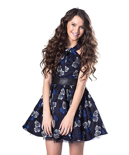 b1e8e43f2bf Miss Behave Girls Navy Floral Alicia A-Line Dress - Girls