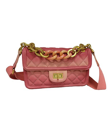 382a03e227 Tiffany & Fred Pink Chain Quilted Leather Crossbody Bag | Zulily