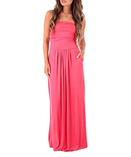 dc9f951bb1004 California Trading Group Coral Ruched-Front Strapless Maxi Dress ...
